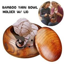 Natural Bamboo Wool Yarn Storage Bowl Wooden Crochet Holder Knitting Organizer