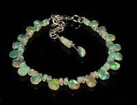 Ethiopian fire opal Almond and Roundel bead Bracelet 925 sterling silver 56