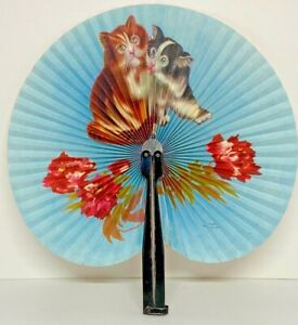 """Vintage Chinese Paper Hand Fan Kittens and Roses 9"""" with 6"""" Handle Ships Free F1"""