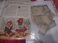 PAGE ET  PATRON ORIGINALES de  MODES ET TRAVAUX   JANVIER 1962