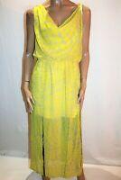 Cooper St Brand Yellow Chiffon Cowl Split Front Maxi Dress Size 12 BNWT #TU100
