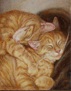 Original Acrylic Painting Cats Ginger Yellow Orange  Alice Berkman