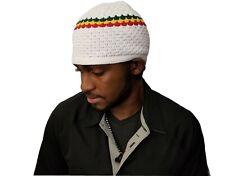 White Rasta Skully Beanies Hat Beret Tam Soft Skull Knitting Cap Beanie Kufi