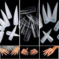 500/1000x Full Cover Nails Long Stiletto Acrylic False Tips Artificial Fake Tips