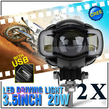 2x 2000LM 20W LED Motorcycle Bike Driving Headlight Spot Fog Light Lamp w/ Clamp