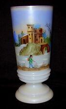 Antique Enamel Hand Painted Castle Scene Bristol Vase