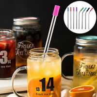 3/5Pcs Reusable Stainless Steel Straight Bent Drinking Straw Silicone Tips Straw