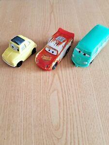 Disney Pixar Cars Pull back cars 3 Vehicle bundle Lightning Mq, Luigi, Fillmore