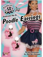 Ladies Pink Poodle Clip On Earrings 1950s New Fancy Dress Rock N Roll 50s