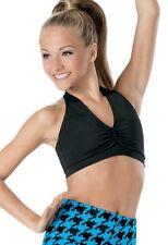 Balera Girls Black Pinch Front  Halter Top Dance Cheer Sz Child Large 12/14