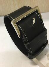 Fashion wide leather bracelet cuff wristband in black colour
