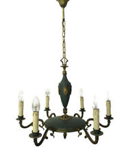 French Empire  Chandelier Green Tole Brass 6 arms Hollywood Regency Beautiful