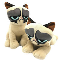 Pair of Grumpy Cat Plush Toy Factory Sitting Reclining Embroidered Face Tags 12""