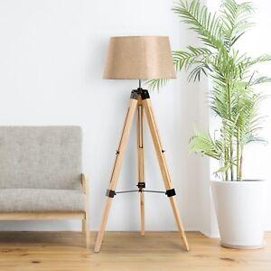 HOMCOM Classic Tripod Wooden Floor Lamp with Adjustable Height