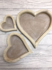 Pretty Rustic Natural wooden Heart Tray Decorative Serving Tea Tray