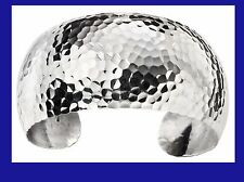 Bangle Cuff Solid Silver Bracelet Ladies Hammered Sterling Silver
