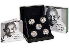 Niue $1, 1 oz. Silver X 5 Coin Set, Gandhi 100 Years Return to India