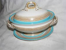 ANTIQUE 1882 ROYAL WORCESTER SAUCE TUREEN WITH STAND TURQUOISE, GILT, BROWN