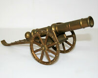 Vintage Brass Military Field Cannon Model with Moving Parts 9in Home Decor My5