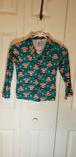 Girls Paul Frank Size Small Pajama Top Turquoise Blue