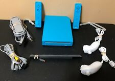 Nintendo Wii Blue Console System Bundle w/ Controllers & Nunchuks + More -Tested
