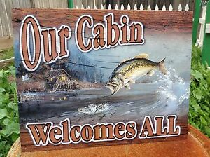 Our Cabin Welcomes All Fishing Tin Sign Wall Bar Garage Decor Classic Vintage