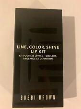3Pc New Bobbi Brown Line, Color, Shine Lip Kit Brand New Authentic