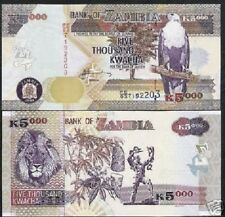 ZAMBIA 5000 5,000 KWACHA P45 2006 LION CASSAVA TREE UNC ANIMAL LA RUE MONEY NOTE
