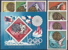 "1972 ""Mongolia"" Olympics Munich, Gold Medalists complete set+Sheet VF/MNH!"