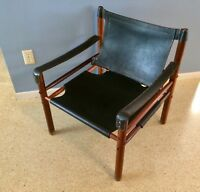 Pair Rosewood & Black Leather Safari Sirocco Chairs Sweden Mid Century Modern