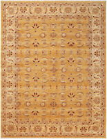 9X12 Hand-Knotted Oushak Carpet Traditional Gold Fine Wool Area Rug D14556