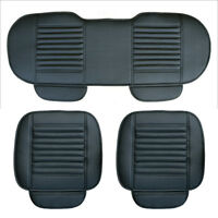 3X Car Front & Rear Seat Cover Breathable PU Leather Pad Chair Cushion Mat Black