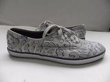 Keds~Gray, Silver & Blue Leopard Print Fashion Tennis Shoes sz 7~Ln worn 1x