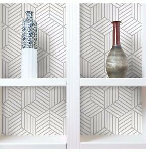 RoomMates Grey Stripped Hexagon Peel and Stick Wallpaper