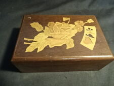 Wood Wooden Decorative Playing Cards Puzzle Box Floral Flower Brown Design