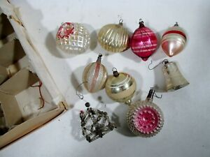 Antique Box 9 German Blown Mercury Glass Czech Beaded Christmas Ornaments