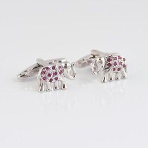 925 Sterling Silver Natural Ruby Precious Gemstone Elephant Design Men's Cufflnk