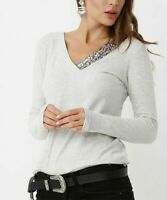 Long Sleeved T-Shirt Size 8 Ladies Womens Grey Top With V Neck Sequin Accent