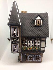Rare German Ceramic Christmas Incense Smoking Candle Light Up House