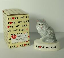 I Love My Cat Grey Persian Porcelain Figurine Vintage George Good 1980's Japan