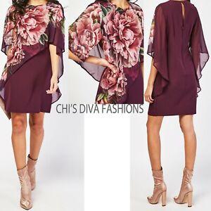 EX LIPSY Chiffon Overlay Printed Shift Dress Sizes UK 6-18