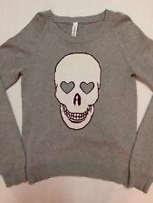 Aeropostale Women's Skull Hearts Gray Knit Cotton Sweater - Sz M