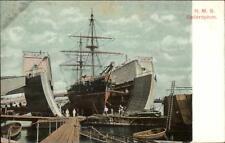 Bermuda Dry Dock Ship HMS Bellerophon c1905 Postcard