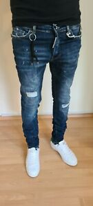 NEW DSQUARED2 BLUE SLIM FIT ELASTIC MEN'S JEANS MADE IN ITALY