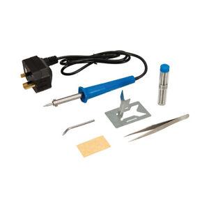 Soldering Iron Kit, Inc Sponge, Tip x 2 , 16g x 1mm Solder, Stand & Tweezers NEW