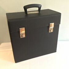 "Vintage Retro 1970s Black Vinyl Record Carry Case 12"" inch LP Album Storage Box"