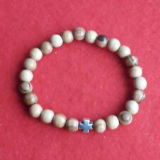 Wooden Beads Bracelet With Cross.