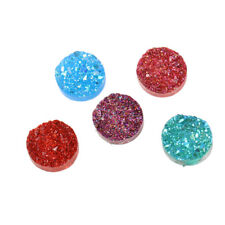 10 pcs. 12mm Drusy Druzy Resin Round Cabochons - Sparkly Mix - Circle - 5 Colors