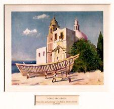 Torre del Greco: una veduta. Golfo di Napoli. Stampa Antica + Passepartout. 1904
