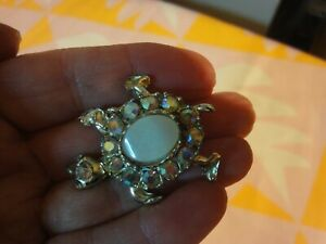 Vintage TORTOISE Turtle BROOCH Pin with Sparkling GEMS Very Cute VGC